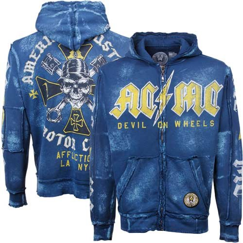 Affliction ACMC Iron Full Zip Hoodie Sweatshirt - Navy Blue (Large)