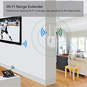 WiFi Range Extender, MECO AC750 WiFi Repeater Wireless Signal Booster, 2.4 & 5GHz Dual Band WiFi Extender with Ethernet Port, Supports Repeater/Access