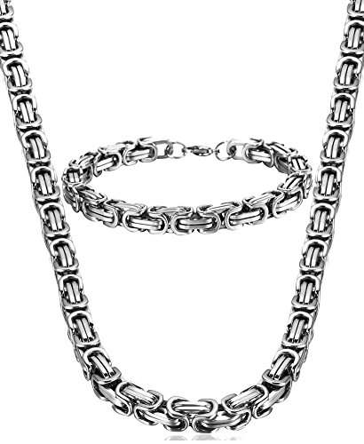 Jstyle Stainless Steel Male Chain Necklace Mens Bracelet Jewelry Set,8mm Wide,8.5 inch 22 24 inch (Chains Men Stainless Steel compare prices)
