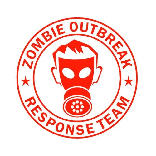 Zombie Outbreak Response Team IKON GAS MASK Design   5 RED   Vinyl Decal Window Sticker by Ikon Sign