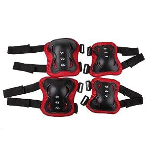 Crazycity Kid's Roller Blading Wrist Elbow Knee Pads Blades Guard 6 PCS Set (#1 black)