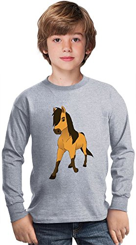 spirit the stallion of cimarron Amazing Kids Long Sleeved Shirt by True Fans Apparel - 100% Cotton- Ideal For Active Boys-Casual Wear - Perfect For A Present Unisex 14-15 years
