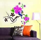 StickersKart Wall Stickers Living Room Design Blue Birds with Pink Flowers (Wall Covering Area: 65cm x 70cm)
