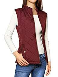 Allegra K Woman Stand Collar Zippered Quilted Padded Vest