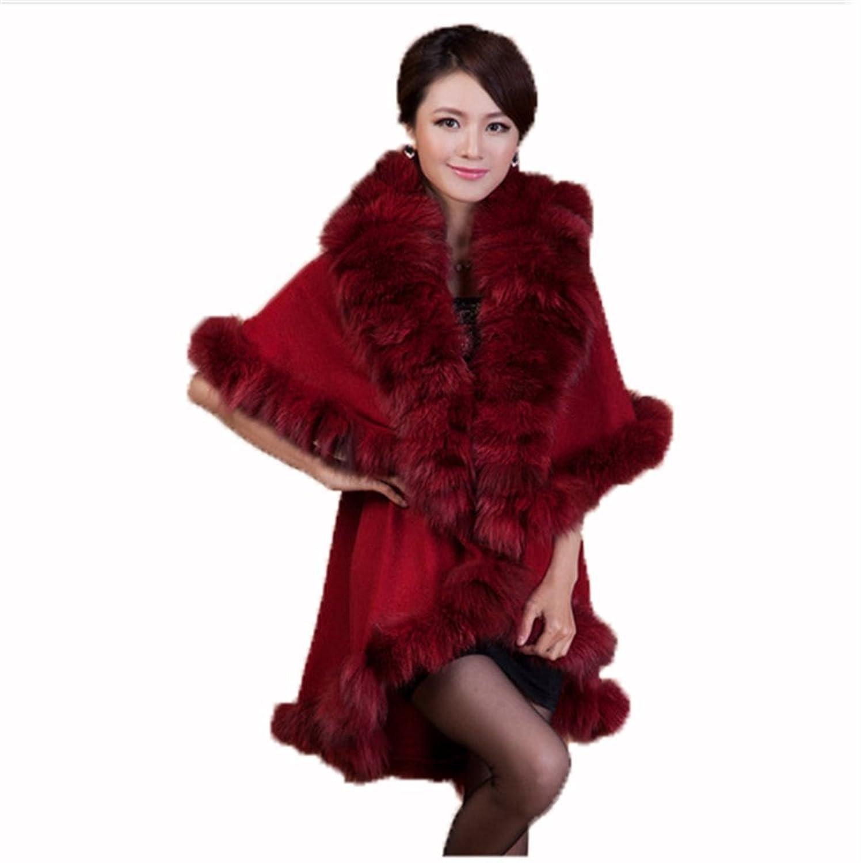 YRLOVE Mode Damen Echter Gestricktes kanichen Pelz Stahl Kap Poncho & Fuchs Pelz Halsband kaufen
