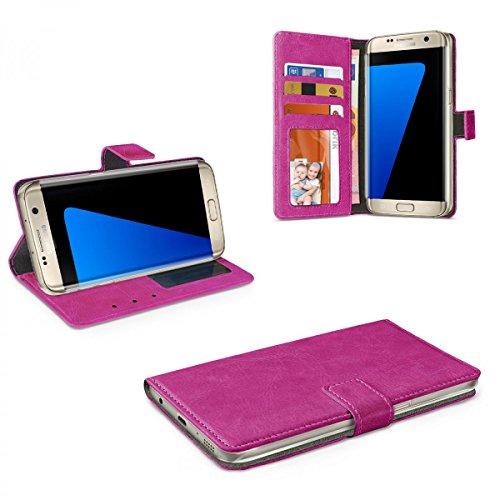 eFabrik Smartphone Cover per Samsung Galaxy S7 Edge custodia di protezione accessori finta pelle, Couleur:Pourpre