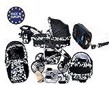 Baby Sportive Twing - Sistema de viaje 4 en 1, silla de paseo, carrito con capazo y silla de coche + la base ISOFIX, RUEDAS GIRATORIAS, parasol y accesorios