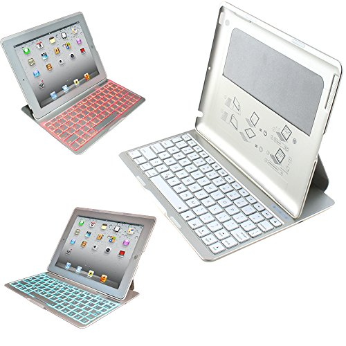 Agptek Portable Wireless Bluetooth White Aluminum 7 Colors Changing Led Backlit Keyboard Case Cover For Ipad 2 3 4