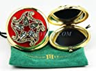 Thorson Hosier Compact Purse Mirror Round Red Swarovski Crystal New USA Made