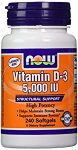 NOW Foods Vitamin D3 5000 Iu, 240 Softgels, Pack of 4