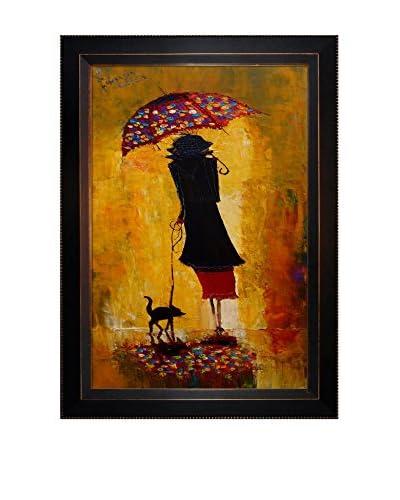 "Justyna Kopania Rain (Out For A Stroll) Framed Canvas Print, Multi, 29"" x 21"""