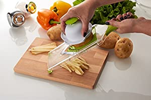 Deluxe Cook V-Blade Mandoline Slicer - French Fry Cutter - Hand-Held Stainless Steel Vegetable Slicer & Julienne Tool - 4 Blades - Easy to Clean Fruit Slicer, Veggie Chopper & Potato Chip Slicer