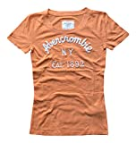 Abercrombie & Fitch Womens Girls Designer Short Sleeve Lightweight Cotton T-Shirt Orange Medium