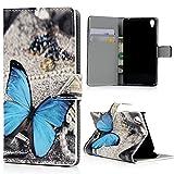 Mavis's Diary Sony Xperia E5 Hüllen Flip Cover Gemalt Blau