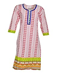 Global Women's Cotton Straight Kurta (GW61Whitep40015, Multi, 40)