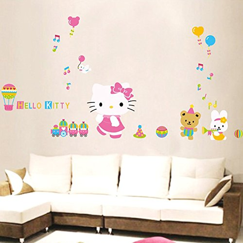 Removable Pvc Wall Decals Stickers Paper Home Living Dinning Room Bedroom Kitchen Decoration Art Murals Diy Stick Girls Boys Kids Nursery Baby Room Playroom Decorating + Gift 9 Pcs Butterflies (Hello Kitty Listening The Music)