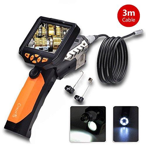 "Longer 3 Meters Dia 8.2mm Tube Snake Camera Cam Endoscope Inspection Borescope Video DVR 3.5"" Monitor 6 Leds Night Vision Waterproof W/ Hook Magnet Mirror"