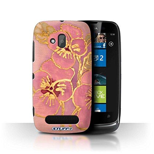 Stuff4 Hülle / Hülle für Nokia Lumia 610 / Licht Rosa Muster / Blumen Seide Effekt Kollektion