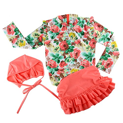 Acecharming Little Girls 3pcs Floral Sun Protection Swimsuit Bikini Set Swimwear Beach Wear (2-3Y, Pink) (Toddler Sun Protection Swimwear compare prices)