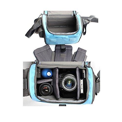 TOMTOP シングルショルダー カメラバッグカメラケース 防水 メッセンジャーケース    メッセンジャーバッグ    デジタル一眼レフカメラ用   Nikon Canon Sony Panasonic に対応 スリングバッグ/ワンショルダー レインカバー付属  ブルー