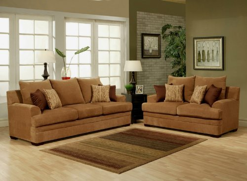 Buy Low Price Benchley 2pc Sofa Loveseat Set with Pillow Back Design in Buff Color (VF_BCL-MACY)