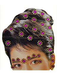 DollsofIndia Golden And Magenta Color Stone Studded Stick-on Hair, Forehead And Ear Decoration For Brides (Can...