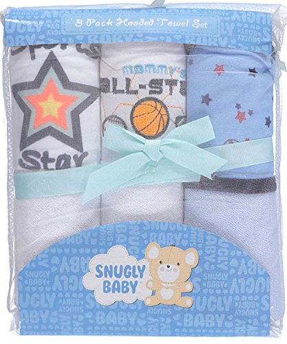 "Snugly Baby ""All-Star Moment"" 3-Pack Hooded Towels - white, one size"
