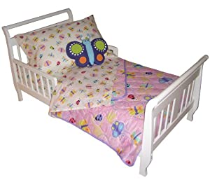 Crayola Bzzz 4-piece Toddler Bed Set: Features Dragonflies, Butterflies & Ladybugs (Toddler/Crib Size)