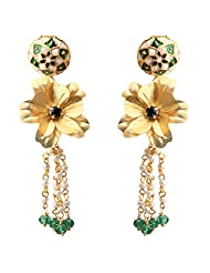 Aarya 24kt Gold Foil Flower Mina With Ganthan Drop Earring Dangler For Women
