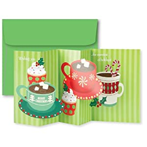 C.R. Gibson 10-Count Accordion Style Christmas Cards, Hot Cocoa