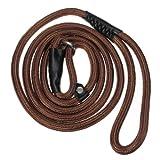 Pet Dog Nylon Adjustable Loop Slip Leash Rope Lead 1.5m Brown