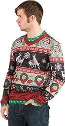 Faux Real Men\'s Ugly Frisky Deer Sweater, Multi, X-Large