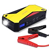 DBPOWER 600A Peak 18000mAh Portable Car Jump Starter Battery Booster Phone Power Bank with Smart Charging Port, Compass & LCD Screen and LED Light, up to 6.5L Gas and 5.2L Diesel Engine (Black/Yellow)