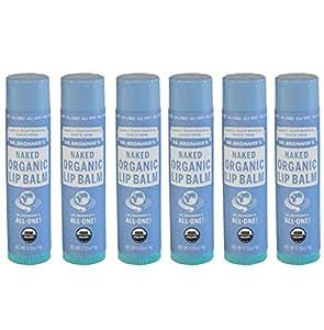 Dr. Bronner's & Sun Dog's Magic Organic Lip Balm, Naked, 0.15-Ounce Sticks (Pack of 6)