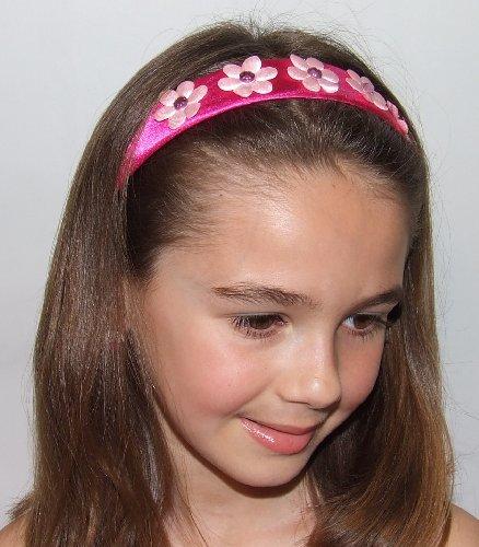 Ava Girls Flower Headband (Hot Pink Band/Light Pink Flowers)