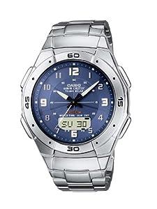 Casio - WVA-470DE-2AVEF - Montre Radio Piloté - Acier - Quartz Analogique et Digitale - Multifonctions - Chronographe - Fuseaux Horaires - 3 Alarmes - Solar - Bracelet Acier
