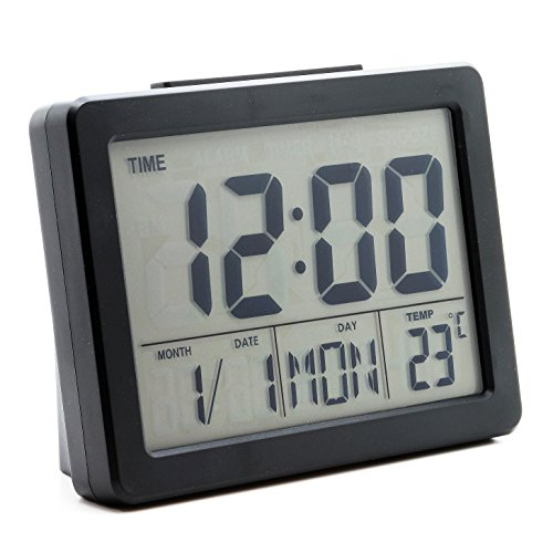 JCC Multifunction Vibration sensor Sound Control LCD backlight alarm clock with timer and world time (black)