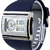 選べる 4色 OHSEN 多機能 腕時計 デジアナ表示 防水 ストップウォッチ スポーツ アウトドア カジュアル メンズ レディース ウォッチ 【 BOX 時計 拭き付 】 (ブルー)