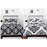 Black White Damask Reversible Girls Teens Full Comforter Set
