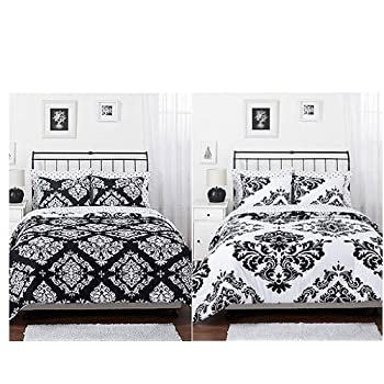 This comforter set adds a classic yet modern look to the bedroom. Reversible cotton in black and white damask coordinates with a variety of styles. Matching shams complete the look for a fashionable, easy to care for bedding set. The set includes 1- ...