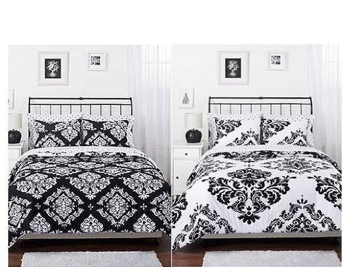 black white damask bedding sets
