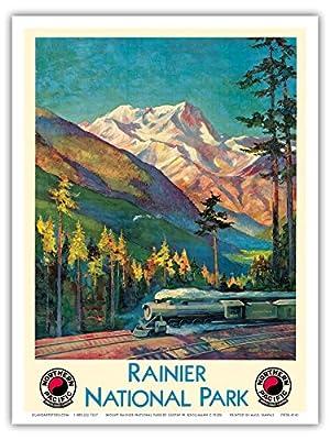 Mount Rainier National Park - Stampede Pass, Washington USA - Steam Locomotive Train Engine - Northern Pacific Railway - Vintage Tourism Poster by Gustav Wilhelm Krollmann c.1920s - Master Art Print