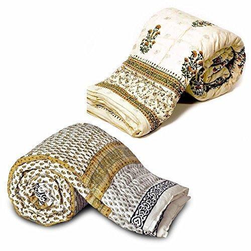 Little India goval 2 piezas Juego de funda de edredón para cama individual Razai algodón blanco