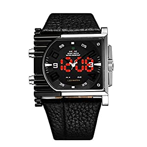 WEIDE Mens Waterproof Analog-digital Quartz Sport Rectangle Leather Wristwatch-