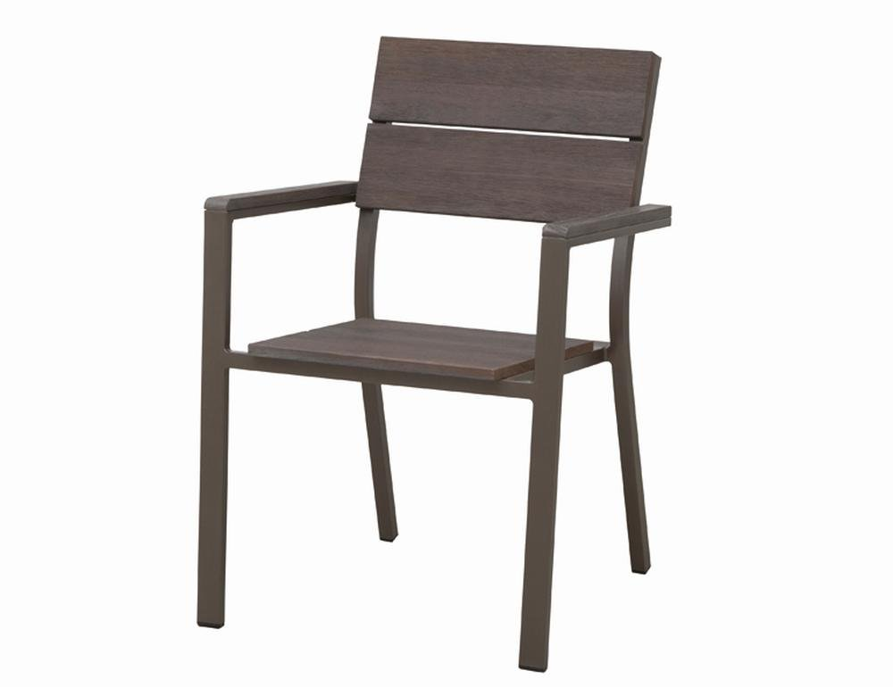2 Stück SIENA GARDEN Stapelsessel, Gartenstuhl Minton aus Aluminium in bronze, Sitz- und Rückenfläche aus FSC® 100 % Eukalyptusholz, ca. 58 cm x 60 cm
