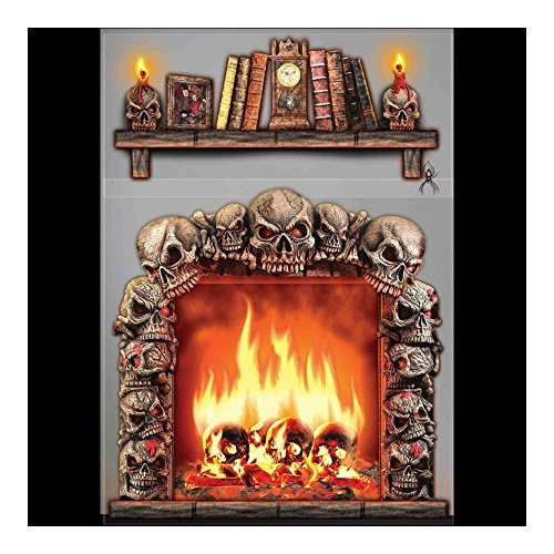 Halloween Prop Gothic 4x5 FIREPLACE SKULLS WALL DECORATION Halloween Haunted House Scene Setter by Unbranded*