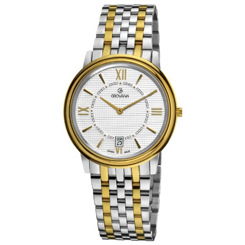 Grovana 1708,1142 - Reloj analógico de cuarzo para hombre, correa de acero inoxidable color plateado