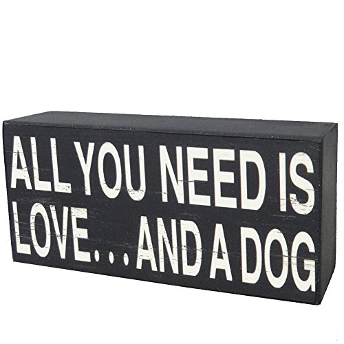 NIKKY HOME All You Need Is Love And A Dog Decorative Box Sign 5.87 x 1.63 x 2.75 Inches Black (Love Decor Tabletop compare prices)