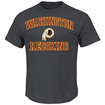 NFL Heart & Soul Washington Redskins Basic Tee, Charcoal Hearther, X-Large