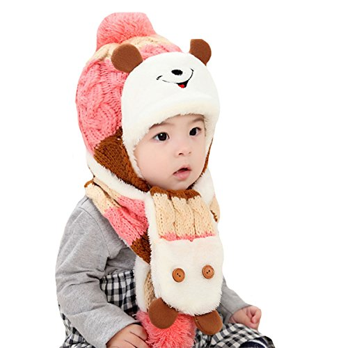 Mily lovely Unisex Baby Winter Warm Wool knit sweater Cap Hat (Pink1)
